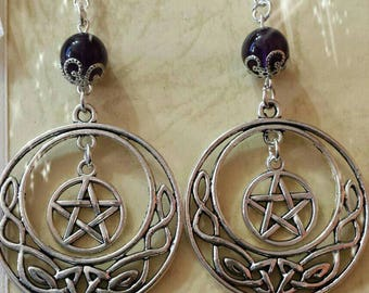 Amethyst drop earrings-Celtic knots-pentacle-witch-Paganism-celtic