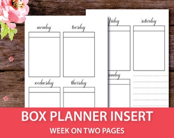 Blank Box Planner, Vertical Weekly Planner, Full Box Size, Week on 2 Pages, Insert Personal Size Planner Insert, Pocket Size Planner Insert