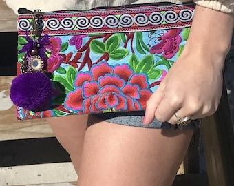 Pom Pom Clutch. Bohemian Clutch Wristlet. Pom Pom Wristlet. Beach Bag. Travel Bag. Cosmetic Bag. Boho Clutch. Boho Bag. Bohemian Bag.