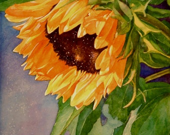 Sunflower 11x14 watercolor giclee wall decor tropical floral painting print, brilliant colors, detailed realism