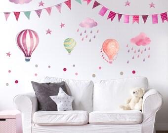 015 wall Garland pennant balloon cloud rain Star Pink Berry purple * nikima * in 6 verse. Sizes