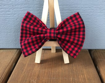 Red and Black Check Dog Bow Tie