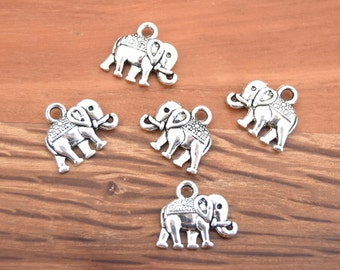 10 BAA2016030 14x12mm antique silver elephant charms