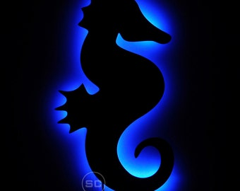 Lighted Seahorse Sign - Nautical Theme Seahorse Night Light