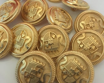 gold metal buttons, pack of 10, 20mm round, gold colour, coat of arms, military buttons, vintage style, BUT178, blazer buttons, craft button