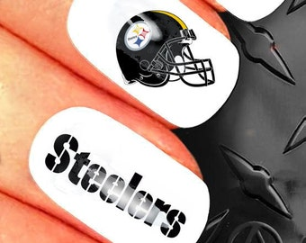 35 Nail Art Decals - NFL Pittsburg Steelers sports football nail design - n35