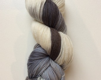 Ombré Black-  hand painted sock yarn
