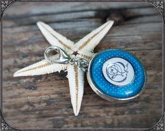 Cabochon Key Charm Doodle blue