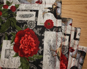 Placemats, Red French Rooster, Set of 4, Reversible, 18 x 14