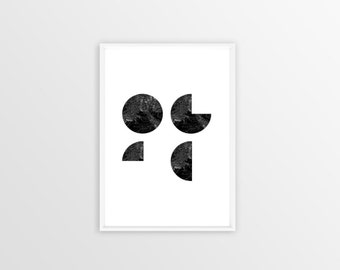 A4, Pacman Mountain, print, Poster, frame, wallart, decoration, art, mountains, black and white