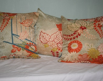 Set of Three Vintage Japanese Kimono Silk Scatter Cushions