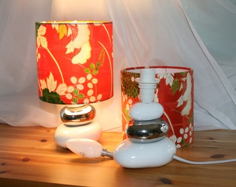 A Pair of Table Lamps with Vintage Japanese Kimono Silk Shades
