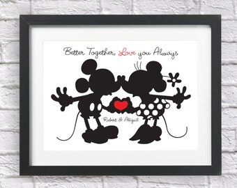 Personalised Disney Mickey and Minnie Mouse Gift Bespoke Print Valentines Day Wedding Engagement Anniversary Engaged I Love You For Him Her