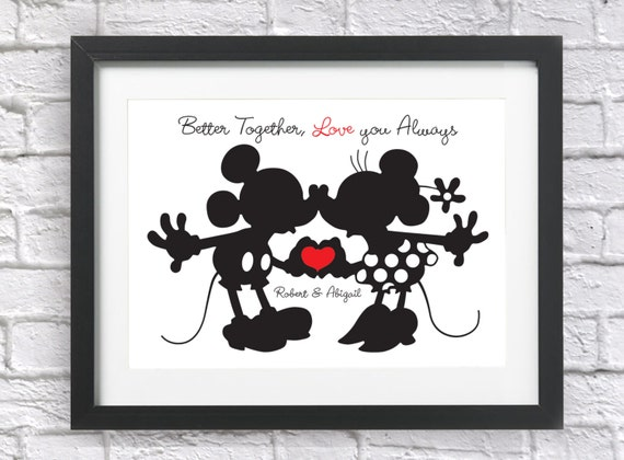 Personalised Disney Mickey And Minnie Mouse Gift Bespoke Print