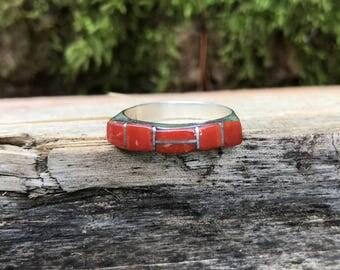 Coral Inlay Ring