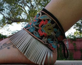 Black Embroidered Ankle Cuffs