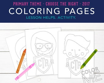 Choose the Right, Primary Kids holding Shield, Coloring Pages, Printables