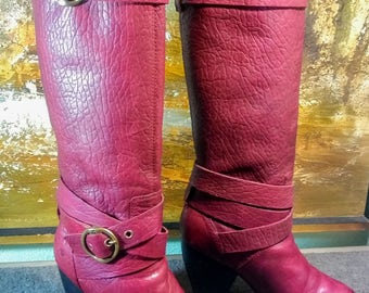 Lucky Brand Customized Candace Womens 9M Full Grain Oxblood Red Leather Tall Knee High Slip On Motorcycle Cowboy Pirate Riding Retro Boots