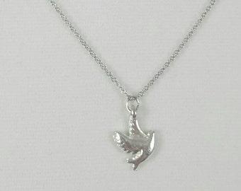 Dove Necklace, Silver Dove, Symbolic Dove, Bird Necklace, Tiny Dove, Bird Jewelry, Clearance Necklace, Sale Necklace