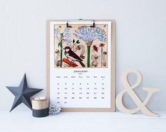 SALE! Printable Calendar 2017, US Letter Sun Start, A4 Mon Start, Monthly Wall Calendar, Vintage Botanical Scientific Illustrations 1620