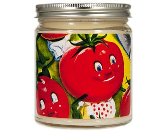 Tomato Soy Candle, Retro Kitchen, Scented Candle, Tomato Decor, Vintage Tomato, Soy Candle, Anthropomorphic, Summer Candle, Candle Gift