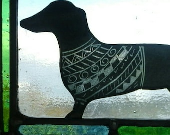 Dachshund with a sweater. Stained glass panel. Gift for a dog lover.