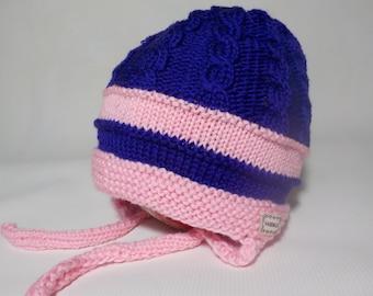 100% MERINO WOOL Hand Knitted Hat For Toddler Girl- Light pink, Dark purple