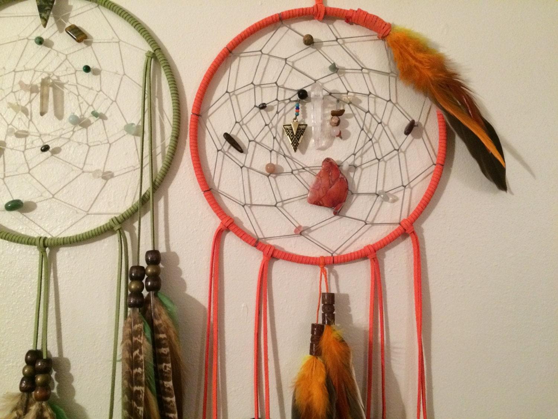 Native American Home Decor Dakota Sioux Dream Catcher Orange Dream Tribal Home Decor