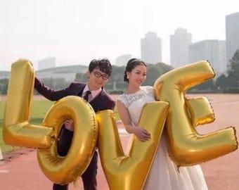 40 Inch Letter Balloons Spell Love, Wedding Balloons, Bridal Shower Decor, Engagement Party Decor, Gold Love Balloons, Jumbo Balloons