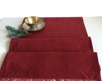 Great Red Table Runner, Rustic Linen Table Runner, Holiday Table Decor, Dark Red  Table