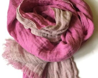 Pink Scarf, Bicolor Linen Scarf, Scarf with Fringe, Fashion Scarves, Pink Linen Scarf, Linen Shawl, Unique Scarf, Feminine Scarf, Long Scarf