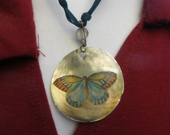 Lenore Solmo abalone mother of pearl pendant necklace w/ free ship