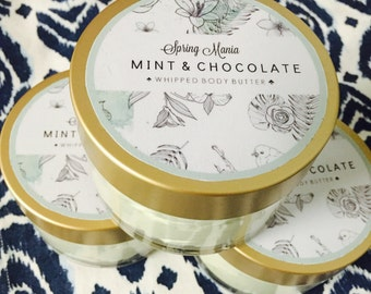 Whipped mint and chocolate body butter