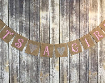 It's A Girl Banner, Baby Girl Banner, Baby Girl Shower Banner, Pink Baby Shower banner