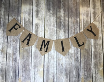 Burlap Family Banner, Family Photography Props, Burlap Banner, Family Banner
