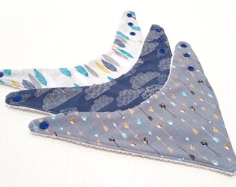 Baby Bandana Bibs - Sold Individually or as a Set of 3 - White Feathers, Navy Clouds & Grey Arrows.