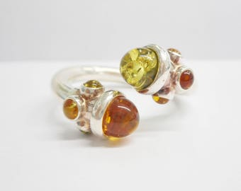 Amber Ring, Sterling Ring, Green Amber Ring, Wrap Ring, Sterling Silver Green & Orange Amber Wrap Ring Sz 10.25 Signed VB PL #3025