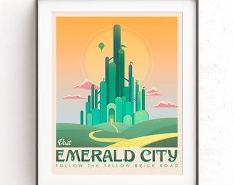 Emerald city art. The wizard of oz. Yellow brick road. Dorothy illustration. Kansas landscape. Ferguson design. Toto painting. Retro travel