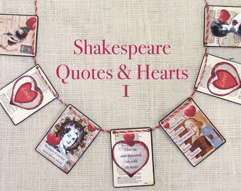 Shakespeare Quotes and Hearts 1 Garland--garlands,  banners, bunting, wall decor,  mantel decor, Valentines, seasonal,  gifts