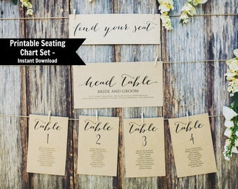 Editable Table Seating Chart Template, Printable Wedding seating plan, Instant Download, Find Your Seat Chart, PDF