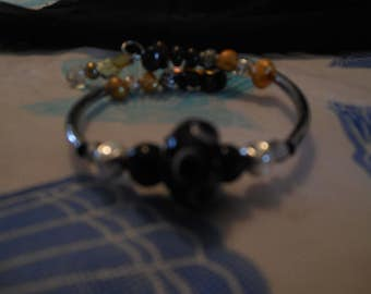 Bracelet Memory wire and Gem Stones