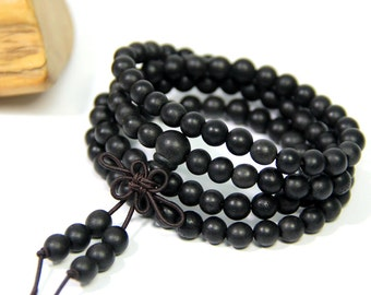 Mala Beads Black Sandalwood 108 Mala Beads Necklace 6mm Mala Beads Bracelet Buddha Prayer Beads Meditation Healing Beads Wood Mala Gift