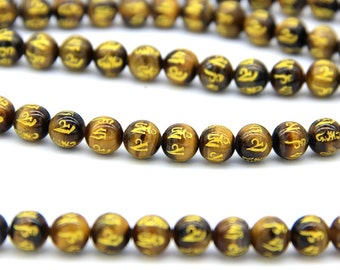 Yellow Tiger Eye OM Beads 8mm Mala Beads Mandra Beads Natural Tiger Eye Beads Carved Gold Om Beads Om Mani Padme Hum Gemstone Beads