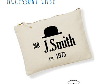 Men's Personalised Name and Year Mans Bag Stuff Beard Moustache Grooming Birthday dad Fathers Day