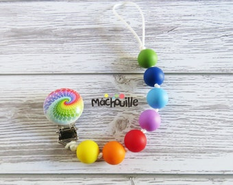 Silicone pacifier holder, food grade silicone, baby safe teething, custom pacifier holder, silicone pacifier chain, rainbow, Machouille
