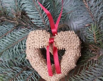 Set of hearts, Hearts ornament, Hearts decoration, Burlap hearts ornament, Rustic decoration, Burlap heart