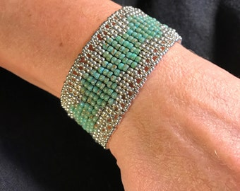 NO 126 Hand Beaded Glass and Silver Bracelet