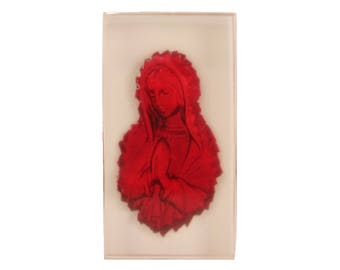 The Virgin Mary resin bas relief