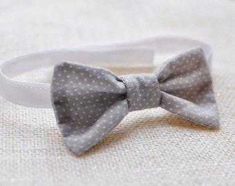 gray boys tie  - gray boy necktie - gray boy bow tie - gray baby tie - polka dot baby tie - gray ring bearer - gray toddler tie