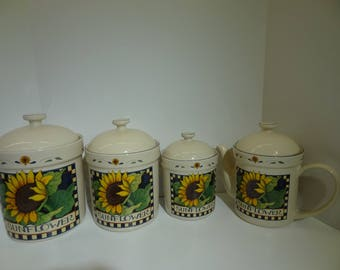 Vintage SUSAN WINGET SUNFLOWER Canisters & Teapot